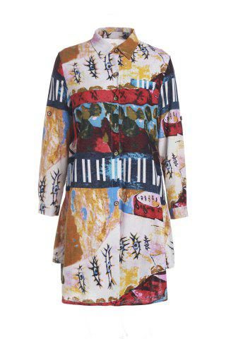 Hot Vintage Style Shirt Collar Long Sleeve Loose-Fitting Colorful Print Shirt For Women