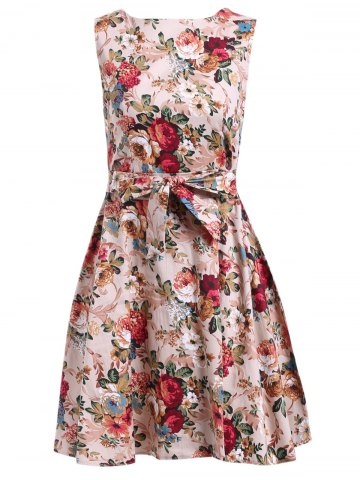 Flower Fit and Flare Dress - KHAKI S