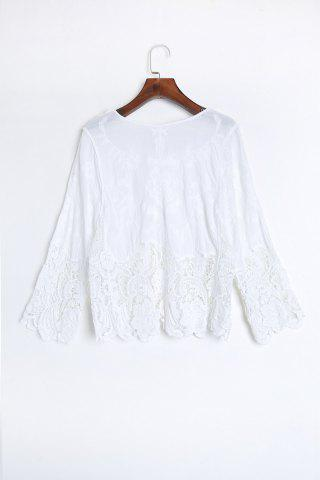Best Crochet Trim Beach Cover Up Top - ONE SIZE(FIT SIZE XS TO M) WHITE Mobile