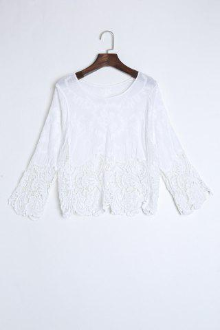Unique Crochet Trim Beach Cover Up Top WHITE ONE SIZE(FIT SIZE XS TO M)
