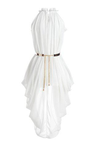 Buy Chic Ruffled Neck Sleeveless White See-Through Chiffon Women's Dress