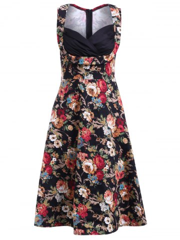 Online Stunning Plunging Neck Sleeveless Rhched Dress For Women BLACK 4XL