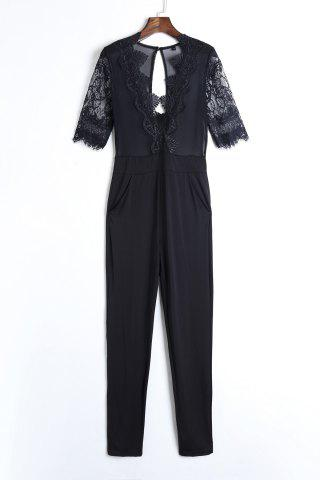 Trendy Sexy Plunging Neck Half Sleeve See-Through Lace Splicing Black Jumpsuit For Women