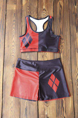 Shops Running Color Block Racerback Top and Shorts RED WITH BLACK M