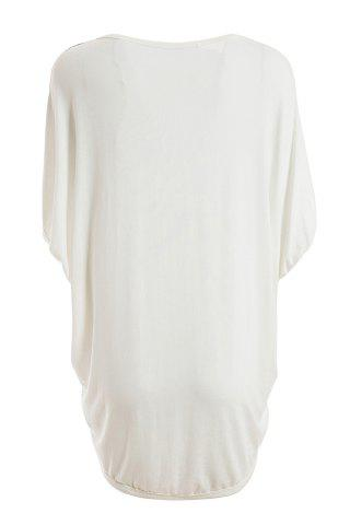 Buy Relaxed Sawtooth Pattern Batwing Sleeve Plus Size Women's White Blouse - XL WHITE Mobile