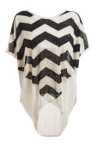 Trendy Relaxed Sawtooth Pattern Batwing Sleeve Plus Size Women's White Blouse