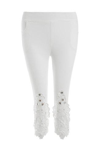 Store Vintage Lace Spliced Rhinestone Stretchy Capri Leggings For Women