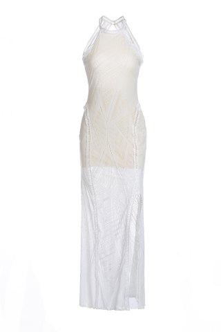 Online Sleeveless Open Back Tight Prom Slit Dress WHITE ONE SIZE(FIT SIZE XS TO M)
