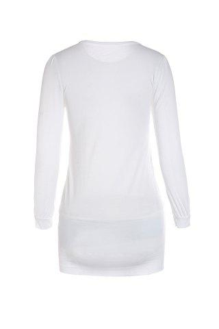 Latest Mini Buttoned Long Sleeve Fitted Dress - L WHITE Mobile