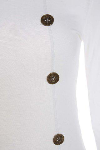 Fancy Mini Buttoned Long Sleeve Fitted Dress - L WHITE Mobile