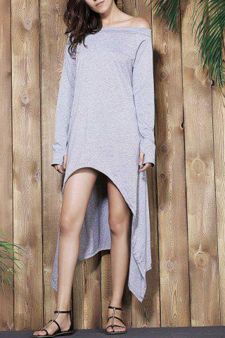 Outfits Long Sleeve Off The Shoulder High Low Maxi T-shirt Dress LIGHT GRAY M