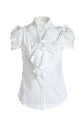Online Short Sleeves Flounce Formal Shirt WHITE M