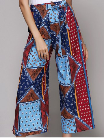 Unique Chic Women's Belted Ethnic Print Palazzo Pants