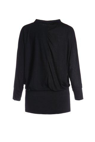 Unique Elegant Round Neck Solid Color Batwing Sleeve Loose Fit Over Hip Women's Dress BLACK ONE SIZE