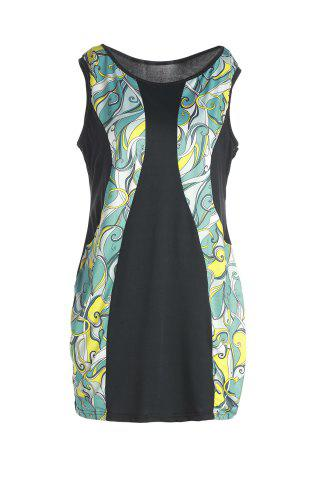 Outfit Stylish Sleeveless Abstract Printed Bodycon Plus Size Dress For Women COLORMIX XL