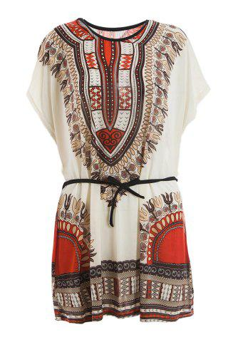 Buy Retro Style V-Neck Ethnic Pattern Batwing Dress For Women