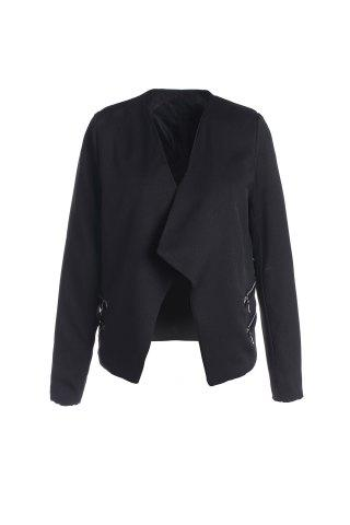 New Stylish Lapel Long Sleeve Zipper Design Women's Blazer BLACK XL