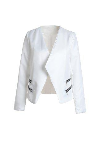 Affordable Stylish Lapel Long Sleeve Zipper Design Women's Blazer