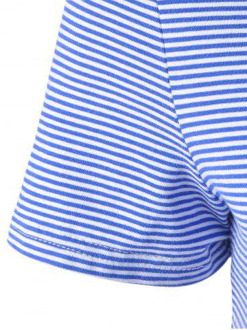Latest Fashionable Contracted Striped Short T For Women - S BLUE AND WHITE Mobile
