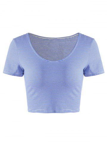Chic Fashionable Contracted Striped Short T For Women BLUE/WHITE L