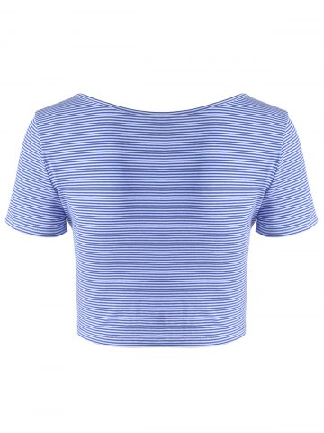 Latest Fashionable Contracted Striped Short T For Women - L BLUE AND WHITE Mobile