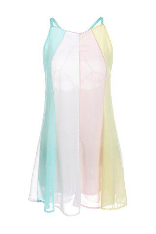 Store Sexy Spaghetti Strap Color Block Backless Chiffon Women's Dress - 2XL BLUE AND WHITE Mobile
