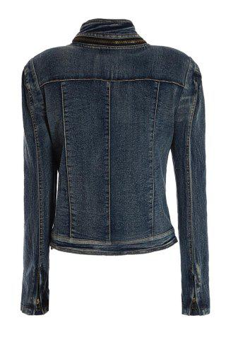 Outfit Stylish Stand Collar Zipper Long Sleeve Denim Women's Short Jacket - L BLUE Mobile