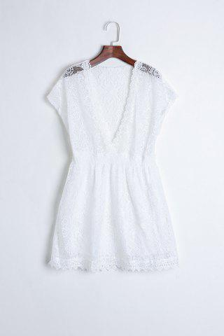 Online Sexy Plunging Neckline Elastic Waist Short Sleeve Mini Lace Dress For Women WHITE ONE SIZE