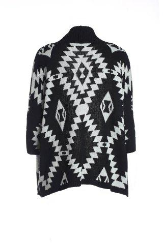 Latest Women's Geometric Pattern Open Front Loose Sweater Wrap Cape Cardigan BLACK ONE SIZE