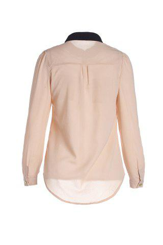 Online Women's OL Style Slim Splicing Color Chiffon Stand-Collar Shirt Blouse - S APRICOT Mobile