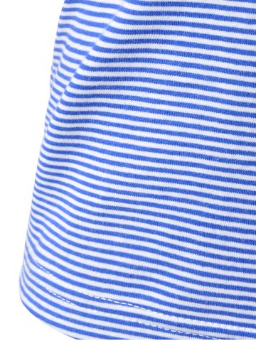 Outfits Navy Wind Striped Condole Belt Vest For Women - L WHITE Mobile