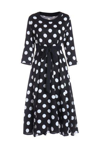 Hot 3/4 Sleeves Scoop Neck Polka Dot Pattern Ladylike Women's Dress