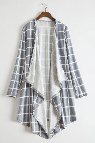Shop Stylish Collarless Long Sleeve Plaid Asymmetrical Women's Thin Cardigan