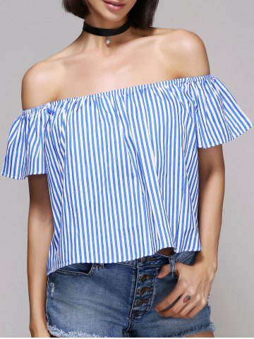Outfits Chic Women's Off The Shoulder Pinstriped Blouse