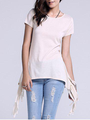 Fashion Chic Scoop Neck Side Slit Fringed Women's T-Shirt LIGHT KHAKI XL