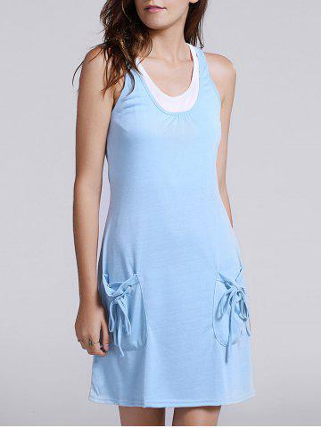 Fashion Casual Tank Top + U Neck Pocket Design Dress Women's Twinset