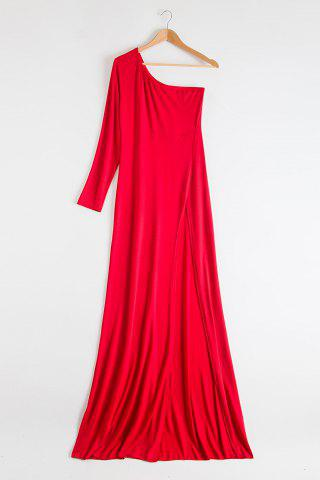 One-Shoulder Long Sleeve Slit Maxi Evening Dress - Red - 2xl