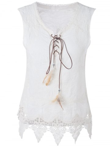 Shop Bohemian V-Neck Lace-Up Lace Panelled Sleeveless Blouse For Women