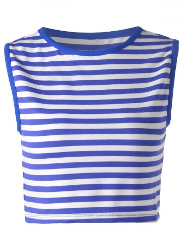 Affordable Striped Crop Tank  Top BLUE AND WHITE S