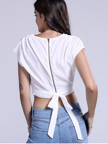 Chic Plunging Neck Zippered Women's Crop Top от Rosegal.com INT