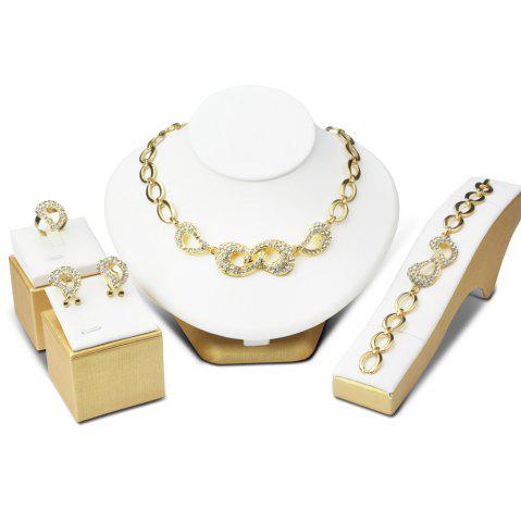Hot Bowknot Hollow Out Rhinestone Necklace Bracelet Ring Earrings