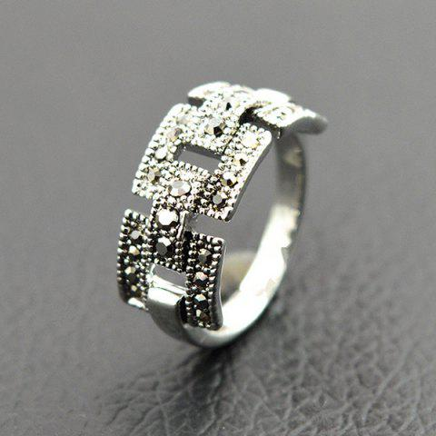 Latest Retro Rivet Hollowed Buckle Ring SILVER ONE-SIZE