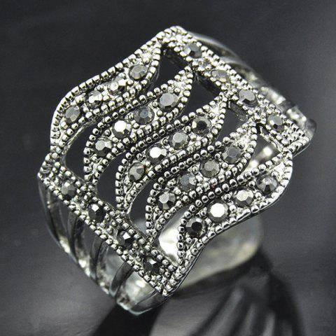 Buy Rhinestone Hollowed Wave Ring SILVER ONE-SIZE