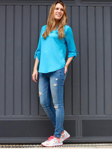 Casual V-Neck Solid Colour Long Sleeve Gauze Blouse For Women от Rosegal.com INT