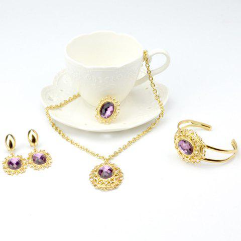 Latest A Suit of Vintage Style Oval Amethyst Necklace Bracelet Ring Earrings PURPLE