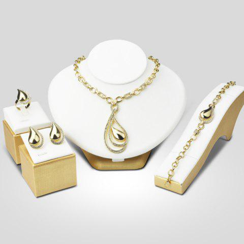 Outfits A Suit of Openwork Water Drop Necklace Bracelet Ring Earrings GOLDEN