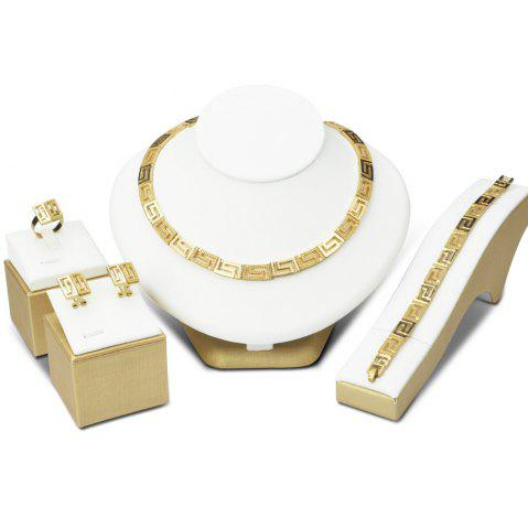 Sale A Suit of Gold Plated Geometric Necklace Bracelet Ring Earrings GOLDEN
