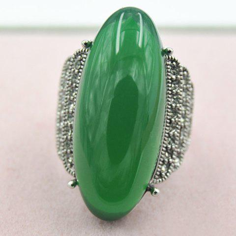 Affordable Retro Artificial Jade Embossed Ring DEEP GREEN ONE-SIZE