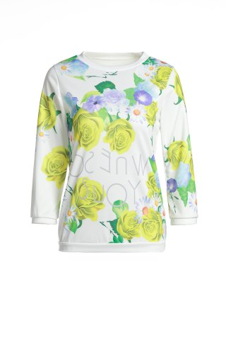 Fashion Various Colorful Floral Printed 3/4 Sleeve Sweatshirt For Women
