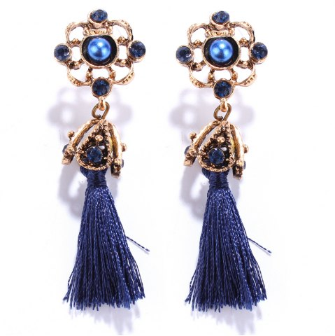 Best Pair of Vintage Rhinestone Embellished Tassel Earrings BLUE